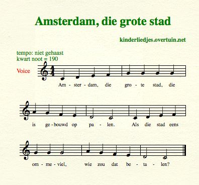 sheet music dutch children's song with english translation piles palen