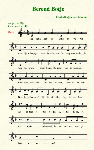 sheet music dutch children's song with english translation berend botje