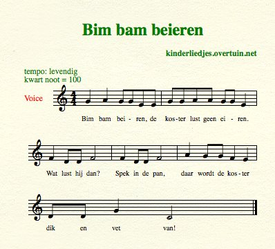 sheet music dutch children's song lyrics sacristan koster