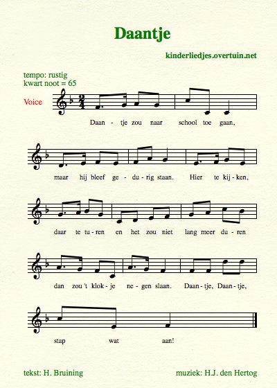 sheet music old dutch children's songs translated english translation daantje school