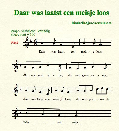 sheet music traditional dutch children's songs translated english translation maiden sailing sailor