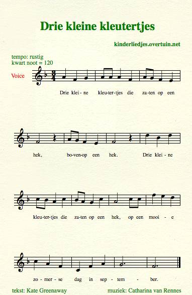 sheet music dutch children's songs songtext toddler fence kleutertjes