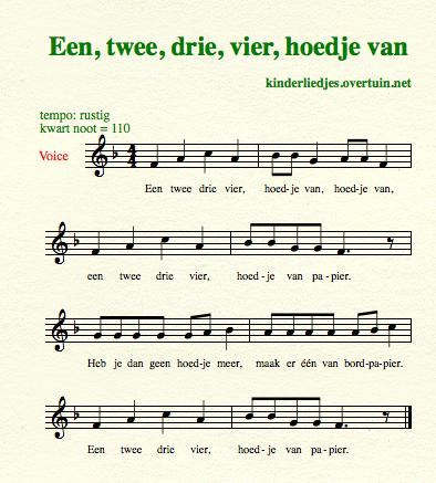 sheet music dutch children's songs translated in english paper hat hoedje papier