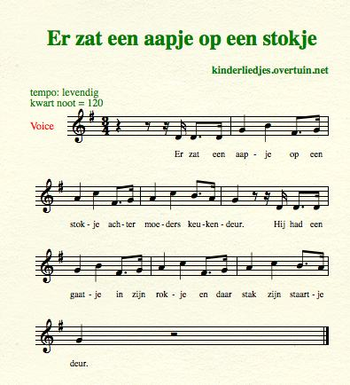 sheet music dutch children's songs translated in english monkey stick aapje