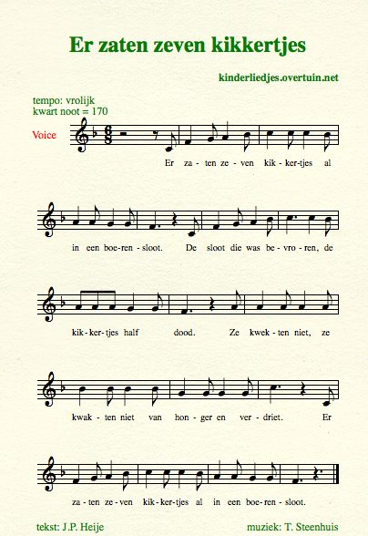 sheet music dutch children's songs songtext frogs ditch kikkers