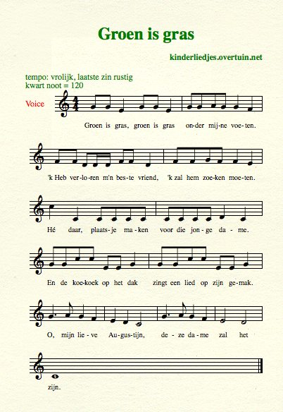 sheet music dutch schoolyard songs school children translated english translation green gras