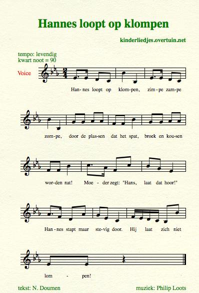 sheet music dutch children's song with english translation hannes clogs wooden shoes
