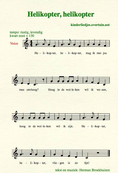sheet music dutch children's song with english translation helicopter helikopter