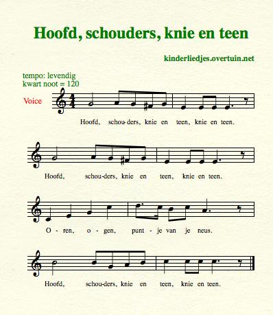 sheet music dutch children's song with english translation head shoulders hoofd