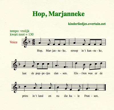 sheet music dutch children's song with english translation marjanneke