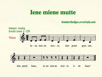 sheet music dutch children's song lyrics eeny meeny iene miene