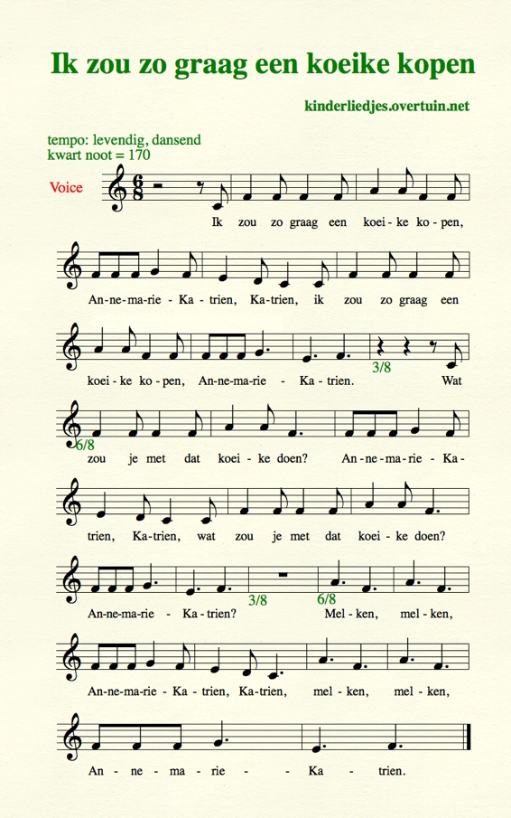 Music Sheet Music Dutch Childrens Song – Pachoice