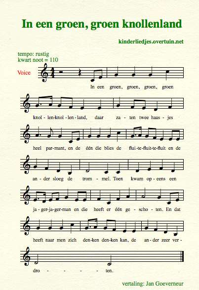 sheet music dutch children's song with english translation hares haasjes