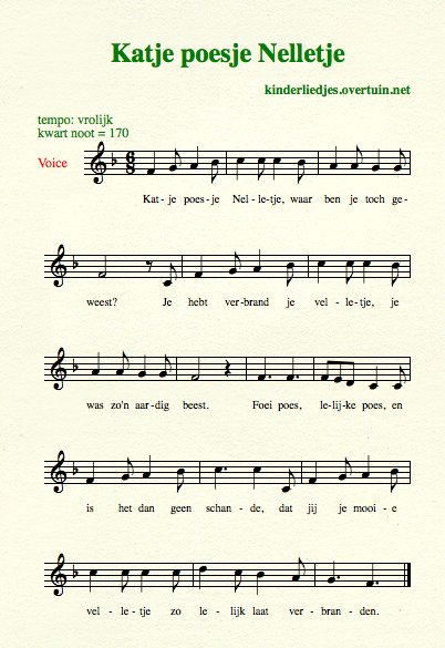 sheet music traditional dutch children's songs translated english translation cat kitten pussy fur