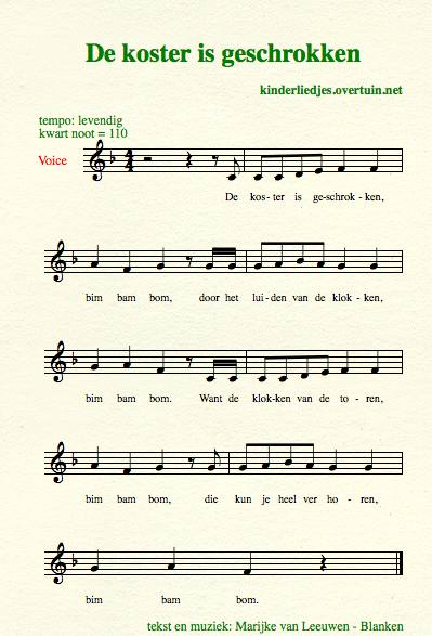 sheet music dutch children's song with english translation churchwarden koster