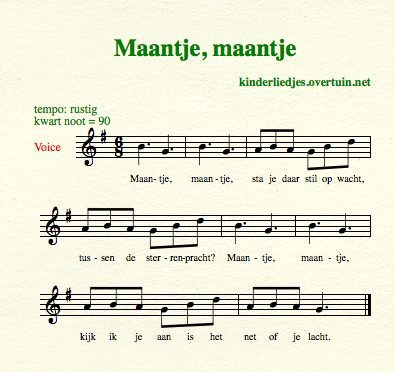 sheet music dutch children's song with english translation moon stars maan sterren