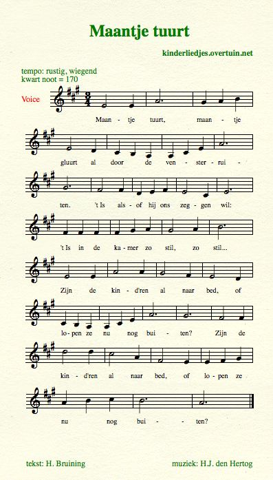 sheet music traditional dutch children's lullaby lullabies translated english translation moon bed sleep