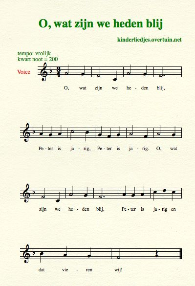 sheet music dutch birthday song translated english translation happy party
