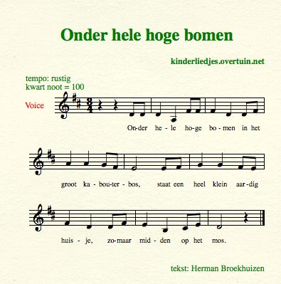 sheet music dutch children's songs translated in english trees forest gnomes kabouter bos