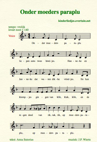 sheet music dutch children's songs translated in english umbrella rain girls paraplu