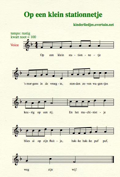 sheet music dutch children's songs translated in english train station