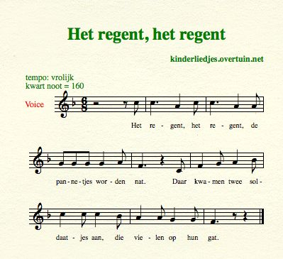 sheet music dutch children's song with english translation rain raining regen
