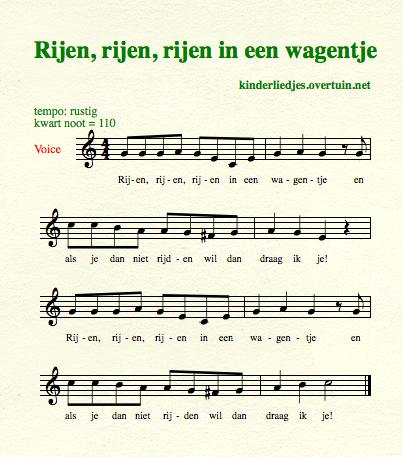 sheet music dutch children's song lyrics buggy riding rijden