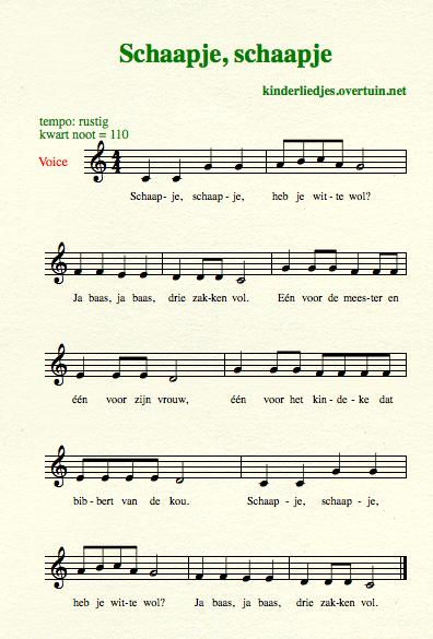 sheet music dutch children's song with english translation sheep wool schaap