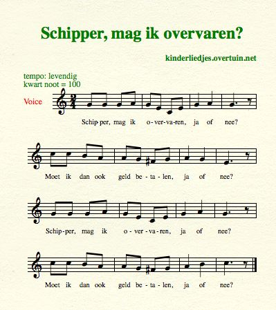 sheet music dutch schoolyard songs school children translated english translation skipper