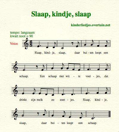 sheet music dutch children's lullabies lullaby sleep baby sheep