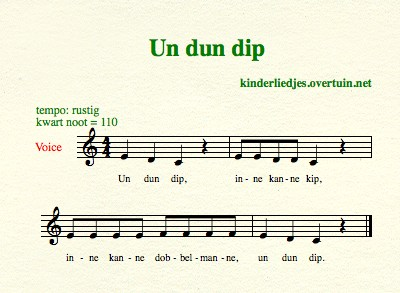 sheet music dutch children's songs songtext un dun dip chicken