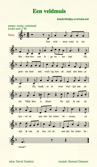 sheet music traditional dutch children's songs translated english translation mouse nutshell bike
