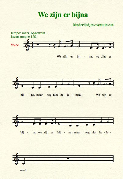 sheet music dutch children's songs translated in english almost there bijna