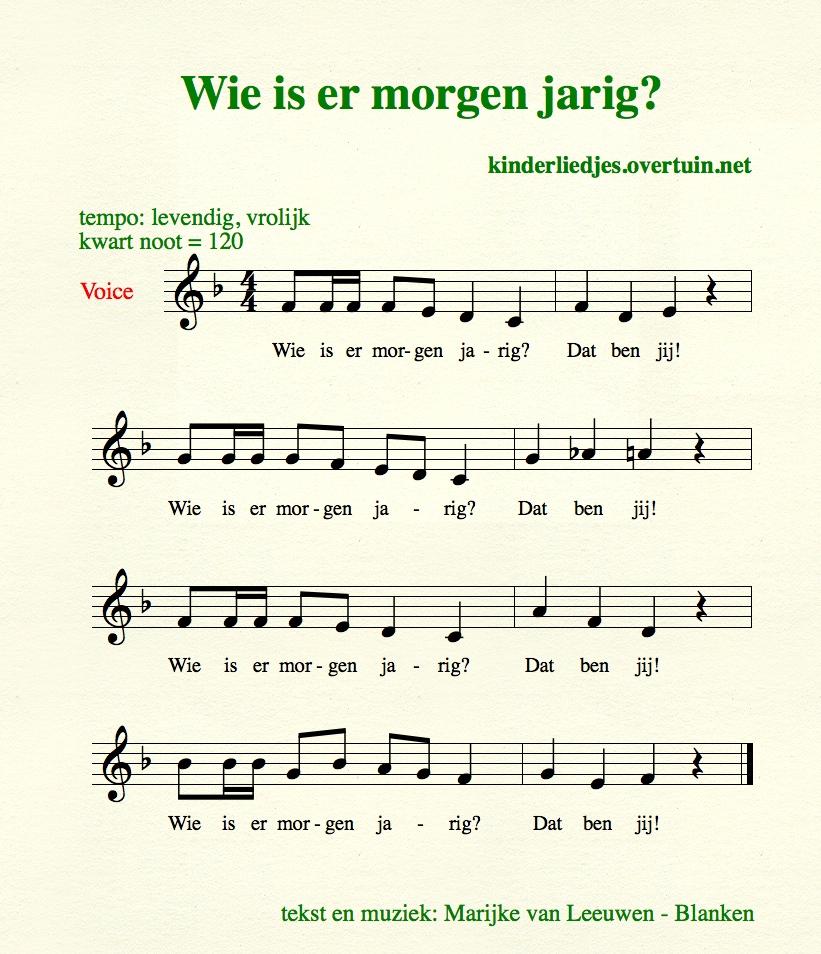 bijna jarig liedje Dutch birthday songs, with music, translated in English  bijna jarig liedje