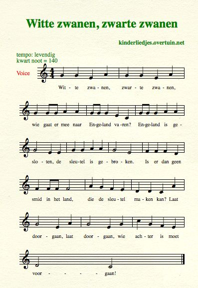 sheet music dutch schoolyard songs school children translated english translation white swans
