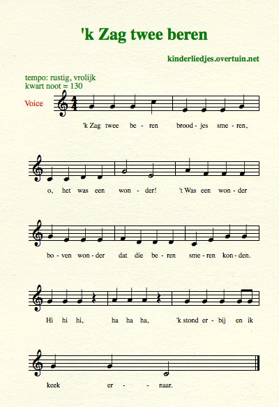 sheet music dutch children's song with english translation bears beren