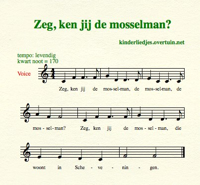 sheet music dutch children's song with english translation mussels man mosselman