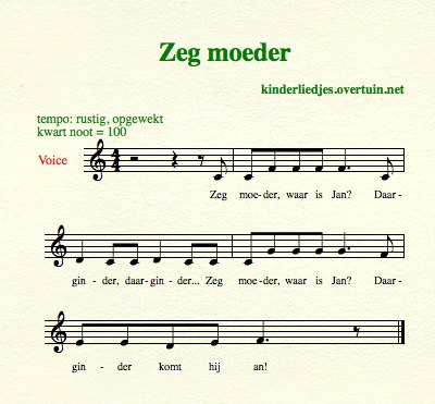 sheet music traditional dutch children's songs translated english translation mother jan aunt