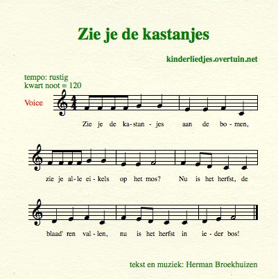 sheet music dutch children's song lyrics chestnuts fall kastanjes