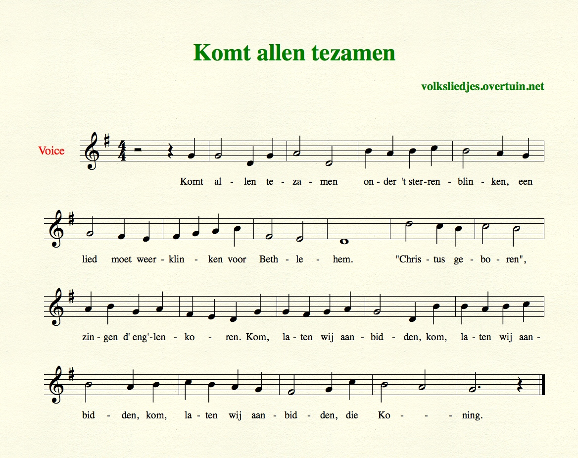 Dutch Christmas songs, A-M, with music, translated in English ...