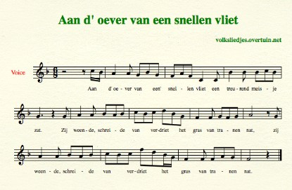 sheet music dutch folk song oever vliet thumb
