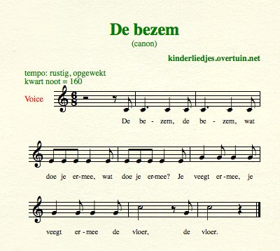 sheet music dutch folk song canon bezem thumb