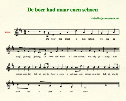 sheet music dutch folk song boer enen schoen thumb
