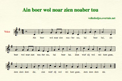 sheet music dutch folk song boer wol noaber thumb