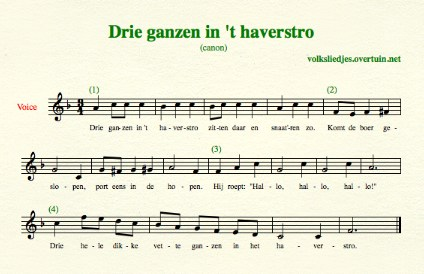 sheet music dutch folk song canon drie ganzen thumb