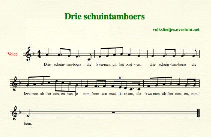 sheet music dutch folk song drie schuintamboers thumb