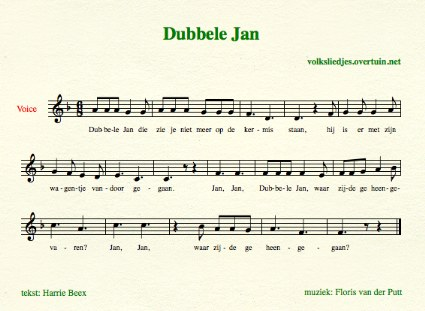 sheet music dutch folk song dubbele jan thumb