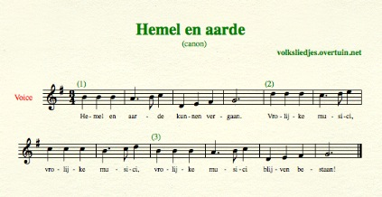 sheet music dutch folk song canons hemel en aarde thumb