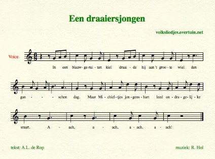 sheet music dutch folk song blauwgeruite kiel thumb
