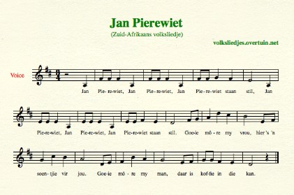sheet music south-african folk song jan pierewiet thumb
